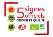 Les 5 signes officiels de la qualité alimentaire : Label Rouge, AOP, IGP, STG, Agriculture biologique.